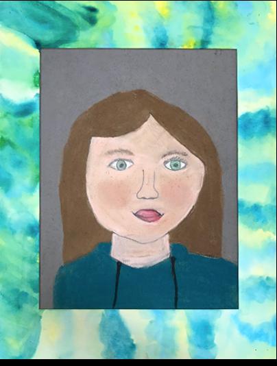 Self Portrait in Pastel, Marker, and Tissue Paper   5th Grade  Prospect Hill Elementary School