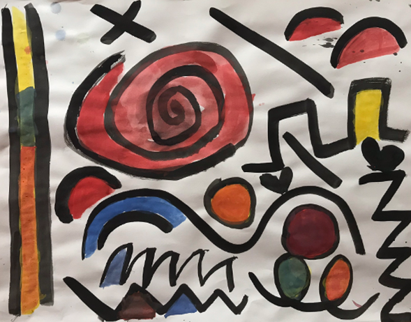 Black Line Junior: Introduction to Painting and Color Mixing   Kindergarten  Siwanoy Elementary School