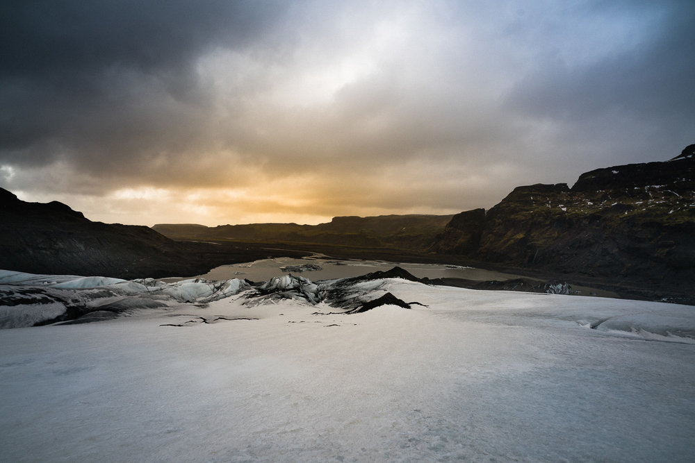 Glacier walking at dusk on Sólheimajökull. This was the most enjoyable thing I did in Iceland.