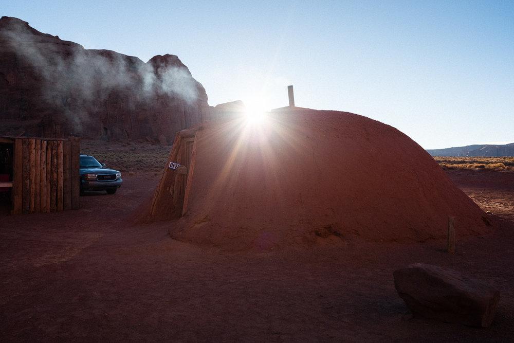 Traditional Navajo hogan house.