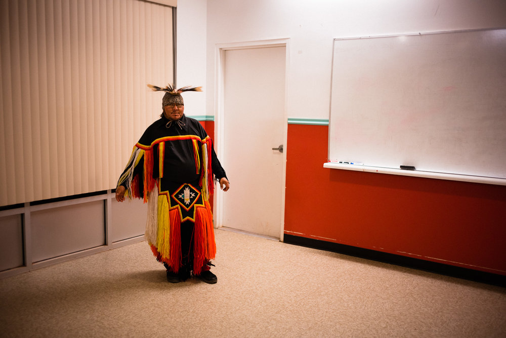 Jamie, one of my guides, wearing traditional costume for dance. John was on the drum and chant. Which was awesome.