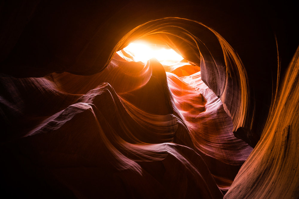 Upper Antelope Canyon, in the wintertime, if you can get there as the sun is going down, you can get some truly magnificent shots.