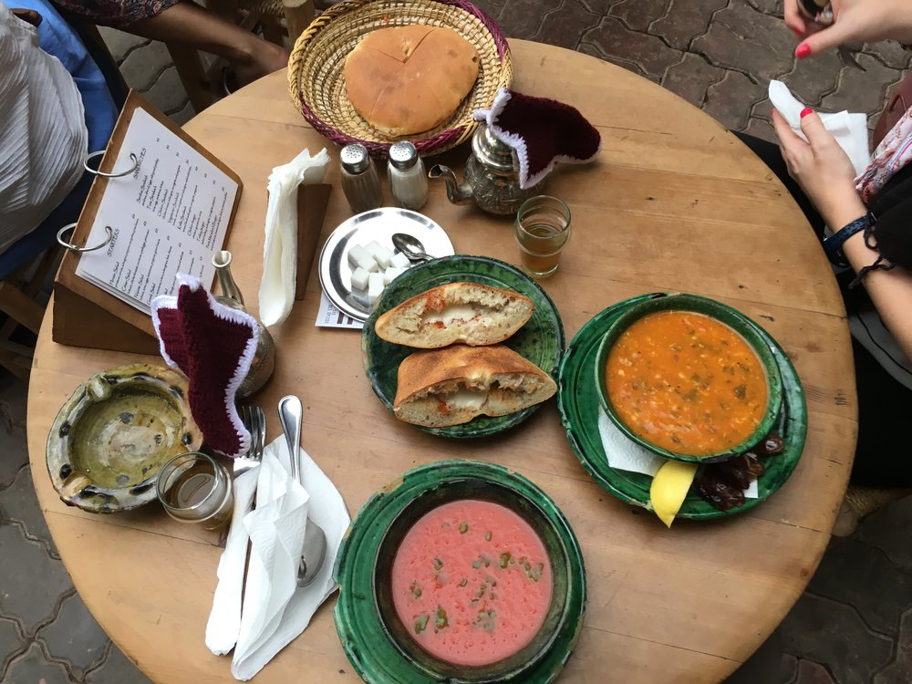 Traditional Moroccan soup, gazpacho, and a sardine sandwich