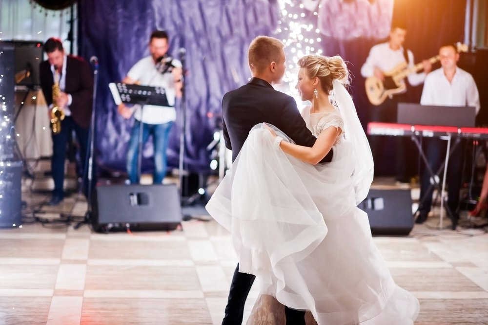 First Wedding Dance With Fireworks Of Gorgeous Wedding Couple.