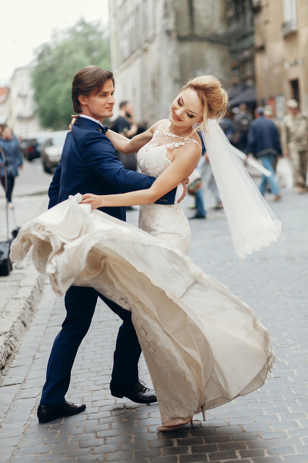 Newlywed Couple Dancing In The Street, Happy Emotional Bride Dan