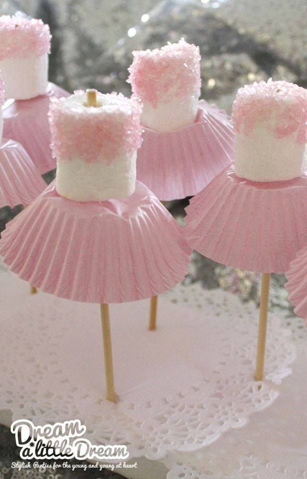 'Princess Dress' marshmallows! All you need is a skewer stick, marshmallow, edible glitter and cupcake wrappers! Simple!