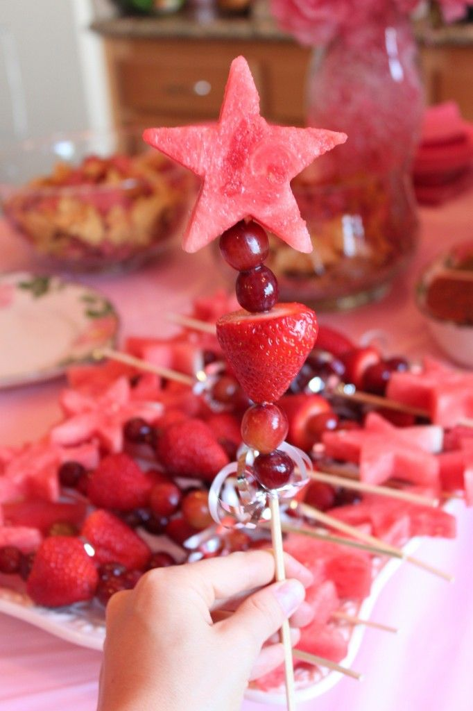 'Magic Wands' made from fruit! Use a cookie cutter to cut out the watermelon, and voila!