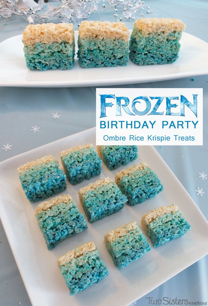 'Frozen Rice Crispie Squares' just made them as you normally would, but add a little blue food colouring!