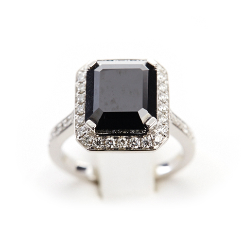 6.82 ct Black Diamond Emerald Cut and Diamond Surround