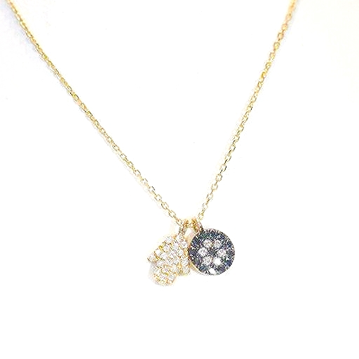 9ct Yellow Gold pavé set diamond Hamsa Hand & Eye