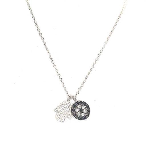 9ct White Gold pavé set diamond Hamsa Hand & Eye