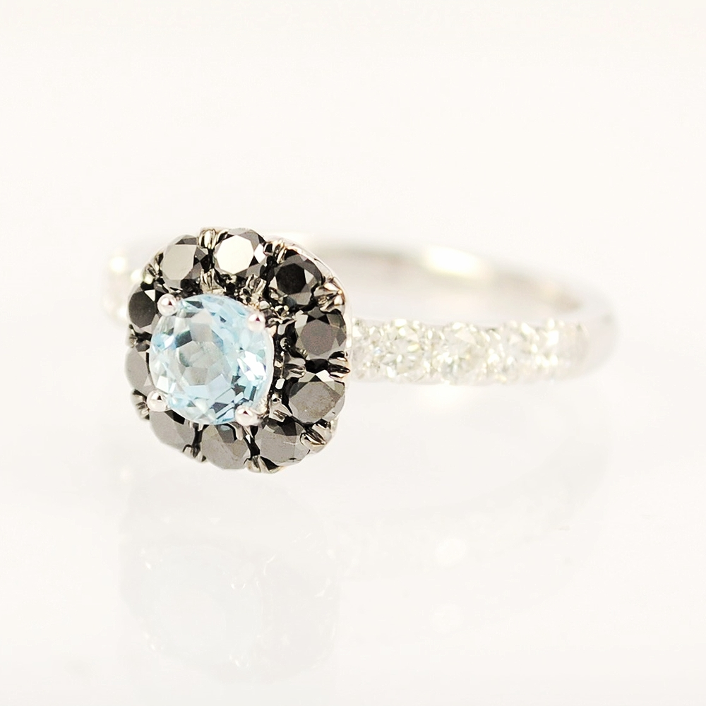 Round Aquamarine halo set with black diamonds & white round brilliant diamonds on band