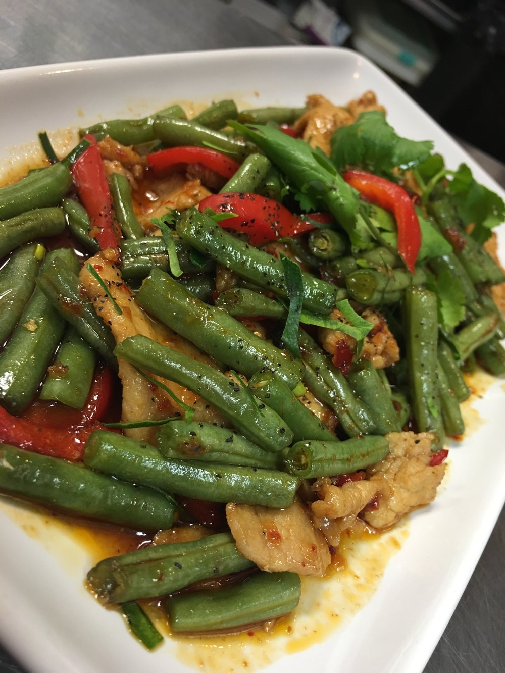 Green Beans + Chile Sauce