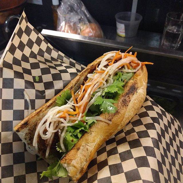 Scotch egg (quail) banh mi. Action shot coming!