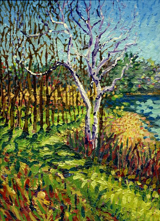 "oil on cradled birch panel 1.5""x 9"" x 12"""