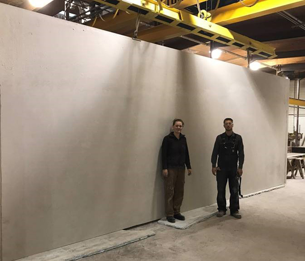 This 10' x 27' panel is ready to go into the finishing phase where the stone, acrylic stucco and crown molding will be installed and prepped for shipping to the job site, fully finished inside and out.