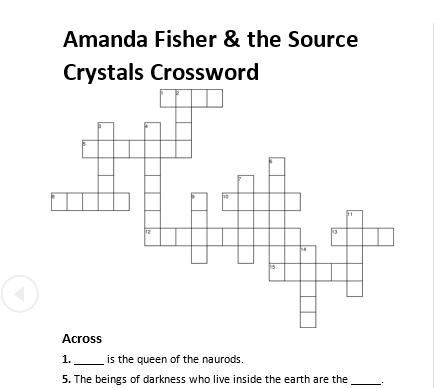 Amanda Fisher & the Source Crystals Crossword Preview