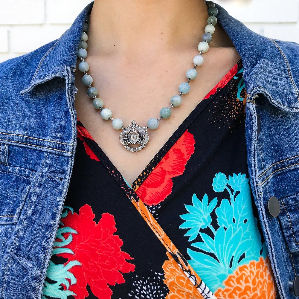 Gilmour dress, FrenchKandi necklace, Mavi denim jacket.jpg