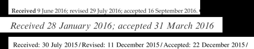 Trois exemples de date de réception et d'acceptation que j'ai trouvé sur des articles récents. Les deux premiers cas sont louche ou ont eu des révisions exceptionnellement rapides. Le troisième me semble plus usuel.