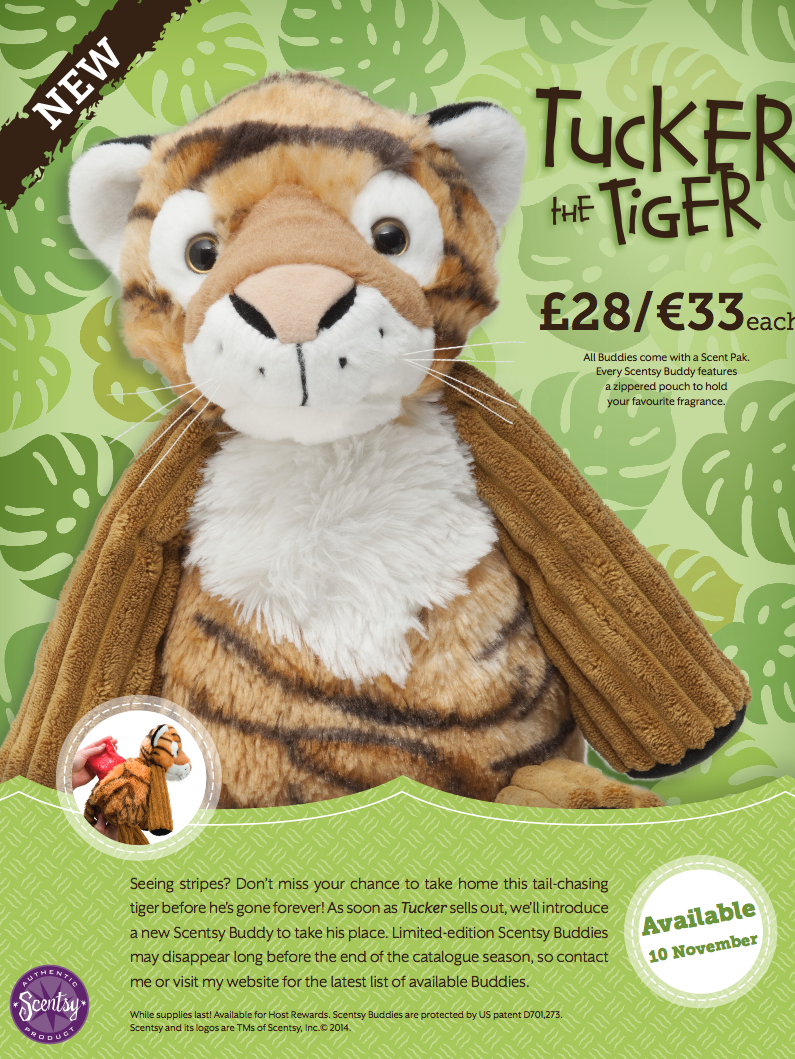Tucker the Tiger Scentsy Buddy Europe and UK