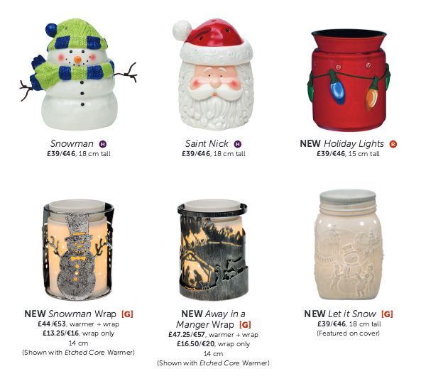 Some returning favourite Christmas Warmers...My Personal Favourite Snowman and Saint Nick Scentsy Warmers and new this year Holiday Lights (Each one of the coloured Christmas lights lights up), the Snowman and Away in a Manger Wrap and the Let it Snow Scentsy Mason Jar Warmer that glows creating a wonderful winter scene at night!