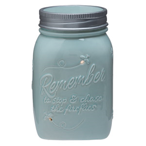 "Capture the essence of carefree, playful summer evenings. This pale-blue hand-painted warmer mimics a glass canning jar, complete with a silver ring and ""filled"" with fireflies."