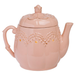 It's teatime! This dusty pink teapot is topped with a delicate rosebud and an embossed, scalloped pattern.
