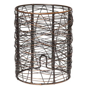 Threads of wire-thin metal are woven into a whimsical nest.