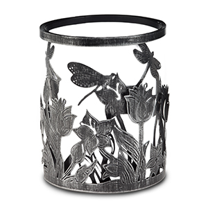 Dragonflies hover nimbly over wild blooms in a lush, detailed landscape heightened by a modern metal framework.