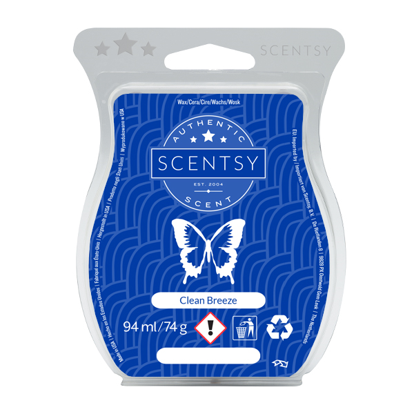 Clean Breeze Scentsy Bar:  White florals with a touch of spring; this is the scent of fresh, clean laundry