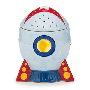 BLAST OFF WARMER:  The sky is no limit with Blast Off. This fun rocket ship with red detailing and lit glass window is made for kids (or adults) who dare to dream.