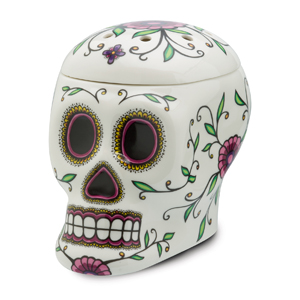 A stunning example of the enigmatic and intricately designed sugar skulls so prevalent in Mexican folk art, Calavera is a remarkable feast for the eyes.