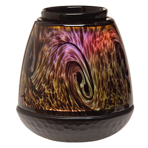 Elegant, hand-blown art glass in an organic tiger's eye pattern. Colour-changing LED provides a spectrum of subtly changing light.