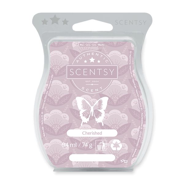 CHERISHED SCENTSY BAR:  Enticing goji berry, passion flower, pink jasmine and guava sparkle like the moment you realized he's the one.