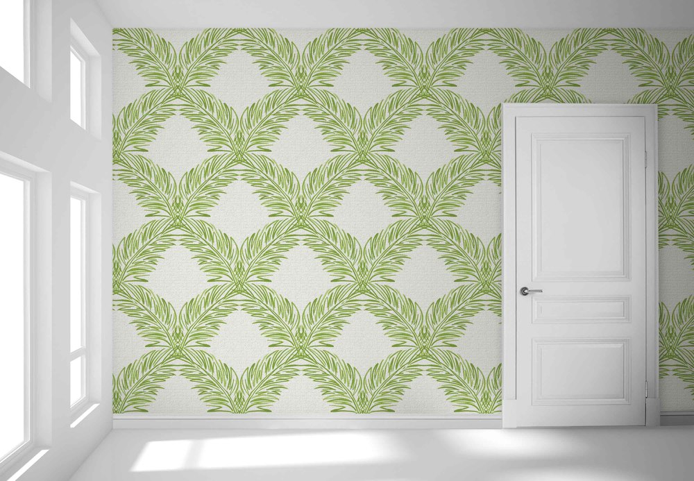 "PALM TRELLIS/ GREEN GC-113/ Green WIDTH: 36""  (untrimmed) REPEAT: 34.5"" V, 36"" H    Straight Match CONTENTS: paper-backed hand-woven sisal digitally printed with earth-friendly, water-based inks. Sold by the yard, 5 yard minimum. Max bolt size is 30 yards ASTM-E84 CLASS A Custom Color Available - contact your Showroom or Rep"