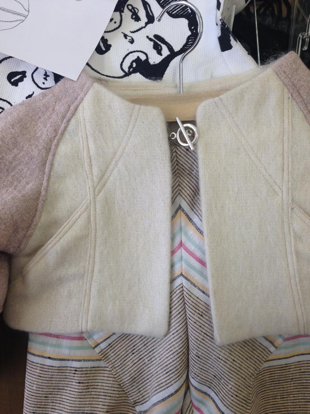 Duck Print Lined Jacket & Chevron Pants . 2015. Wool, linen, silk. Ryerson Univeristy, Toronto.  Background print:  Mifi Mifi