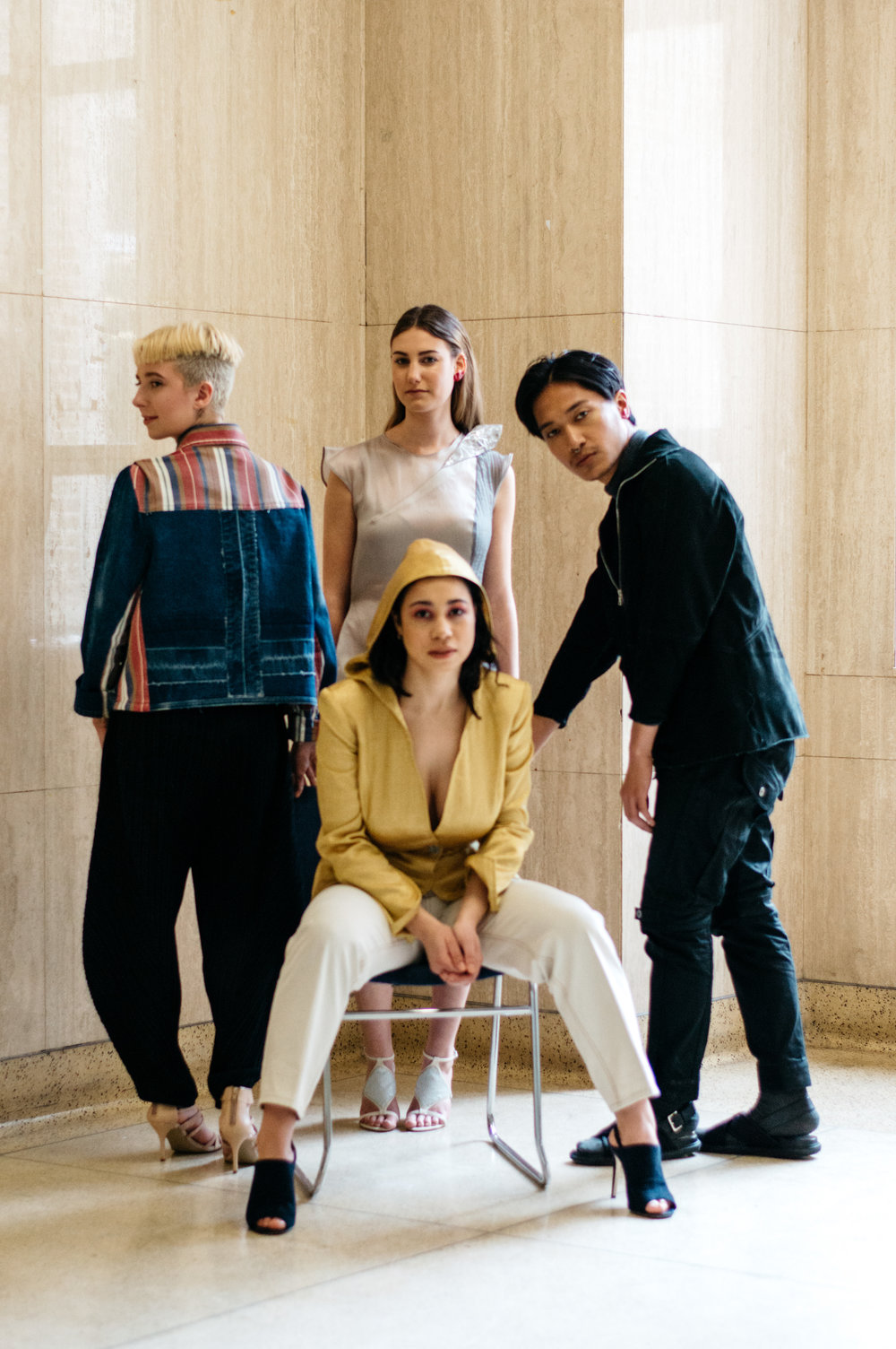 Caitlyn wears the Winnie dress. (a collaboration with @bronwyn_seier), Madeleine wears the Rhoda blazer. Zandrew wears the Daisy jacket, and Abi models the Denim Deconstruction jacket.