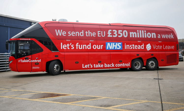 The Vote Leave bus became an iconic image from the referendum campaign. (Picture: Matt Cardy/Getty Images)