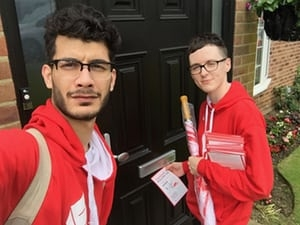 Whistleblower Shahmir Sanni canvassing with Darren Grimes for BeLeave during the 2016 EU referendum campaign (Photograph: Shahmir Sanni