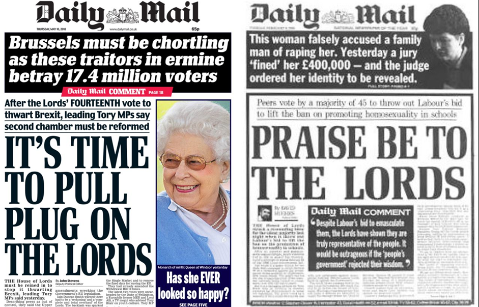 The Daily Mail were one media outlet that use the House of Lords as a political football - anti-reform when peers do what they want, and pro-abolition when peers don't toe their line.