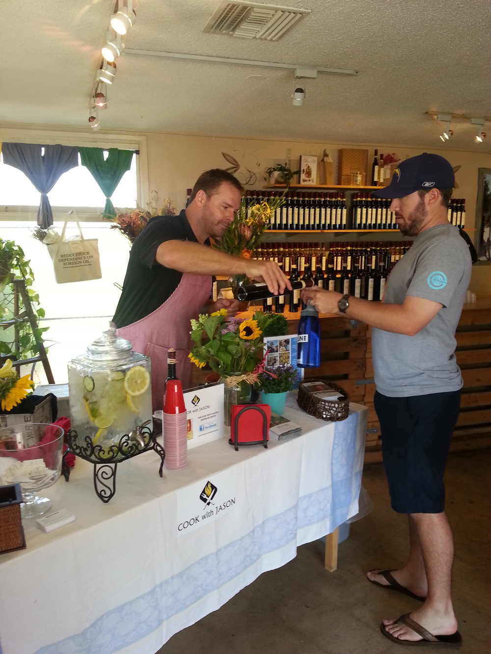 Serving gazpacho at Temecula Olive Oil Co