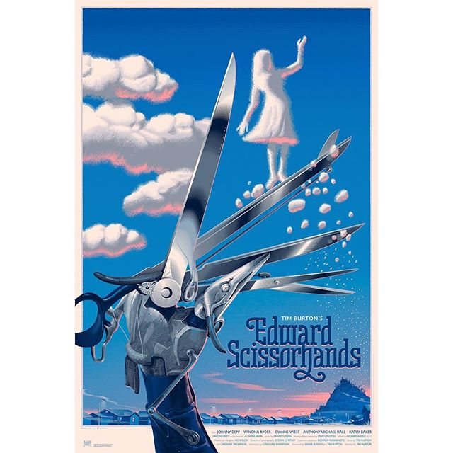 This poster is extraordinary. #EdwardScissorhands . . . . . #favoritemovie  #timburton #johnnydepp #winonaryder #clouds #artwork #poster #satire #vfxmua #fantasy #denisedinovi #dinovi #carolinethompson #diannewiest #dinoviproductions