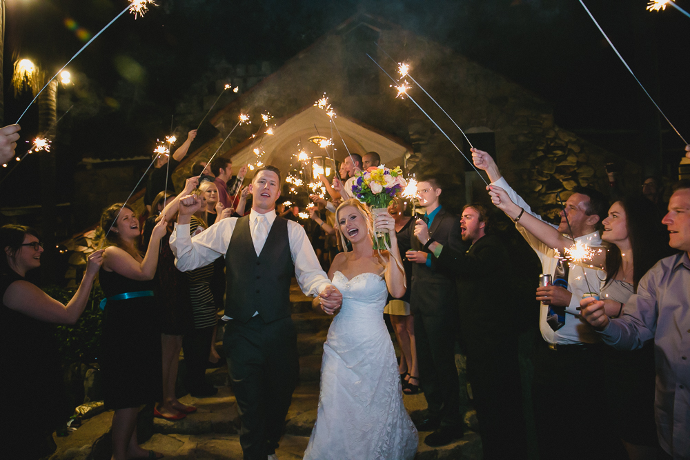 WeddinSparklers send off at Mount Woodson Castle wedding photography by LEAFg Photography