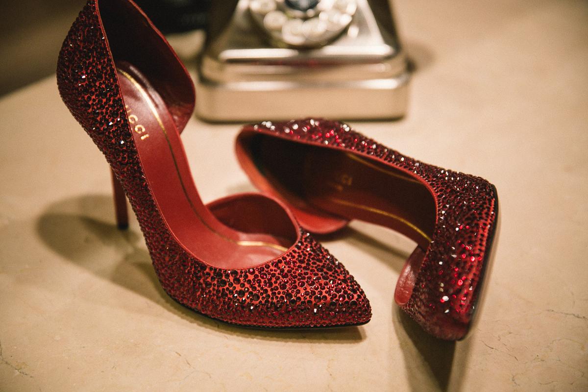 Gucci bridal shoes at Loft Seven Los Angeles, wedding Photograpjy