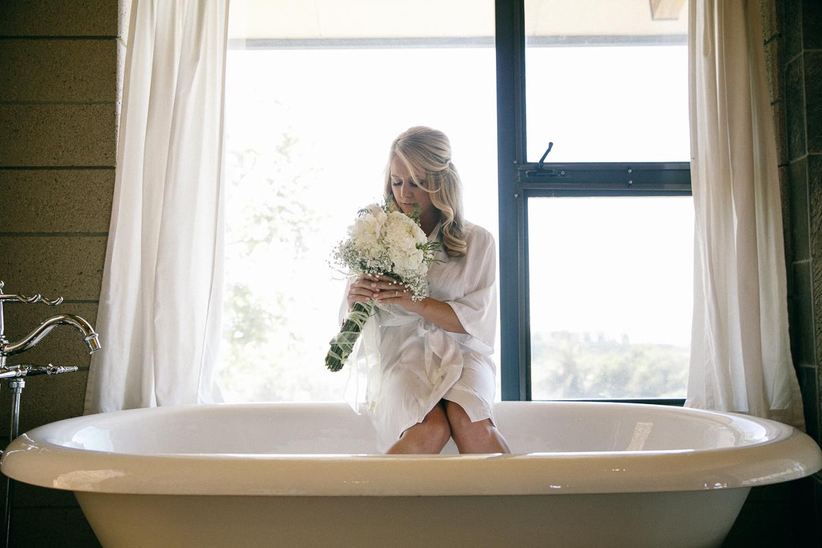 Bride into the bathtub