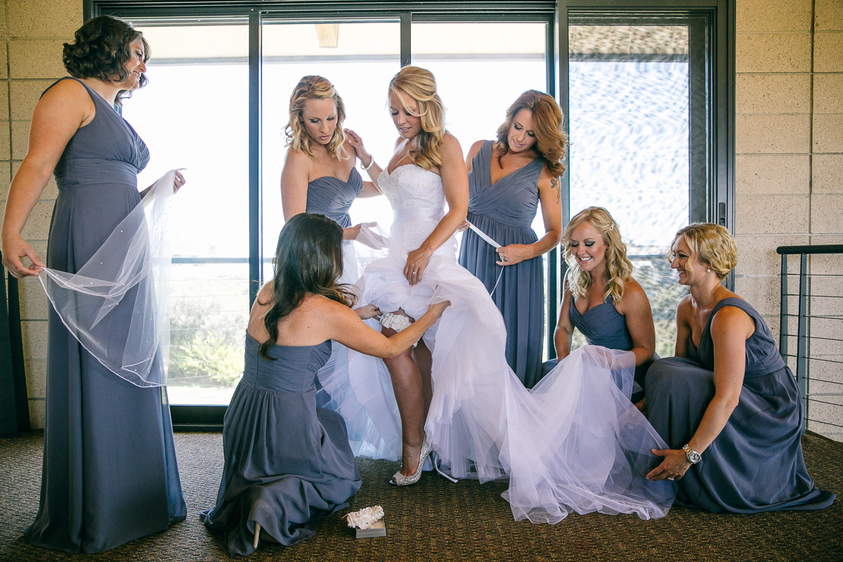 Bride and Bridesmaids getting rready