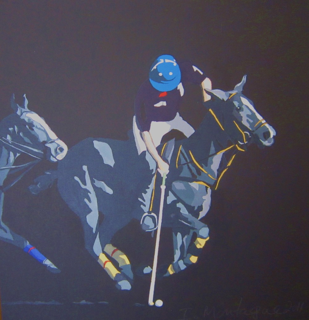 Polo Argentina.   Acrylic polymer on canvas. 30 x 30 cm.  ©   2011 Ida Montague   Private collection, Yass, Australia.
