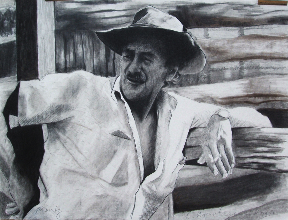 Monty  . Charcoal on rag paper. 56 x 74cm.  ©  2010 Ida Montague. Private Collection: London  This drawing was requested by and published in Nigel Austin's   The Australian livestock export trade : From the First Fleet to the World's Greatest