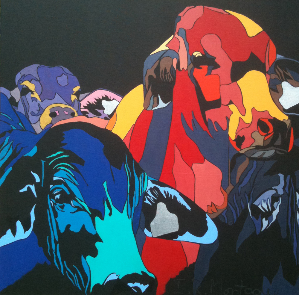 Crowded House  . Acrylic polymer on canvas. 76 x 76 cm.  ©  2010 Ida Montague. Private collection, Australia