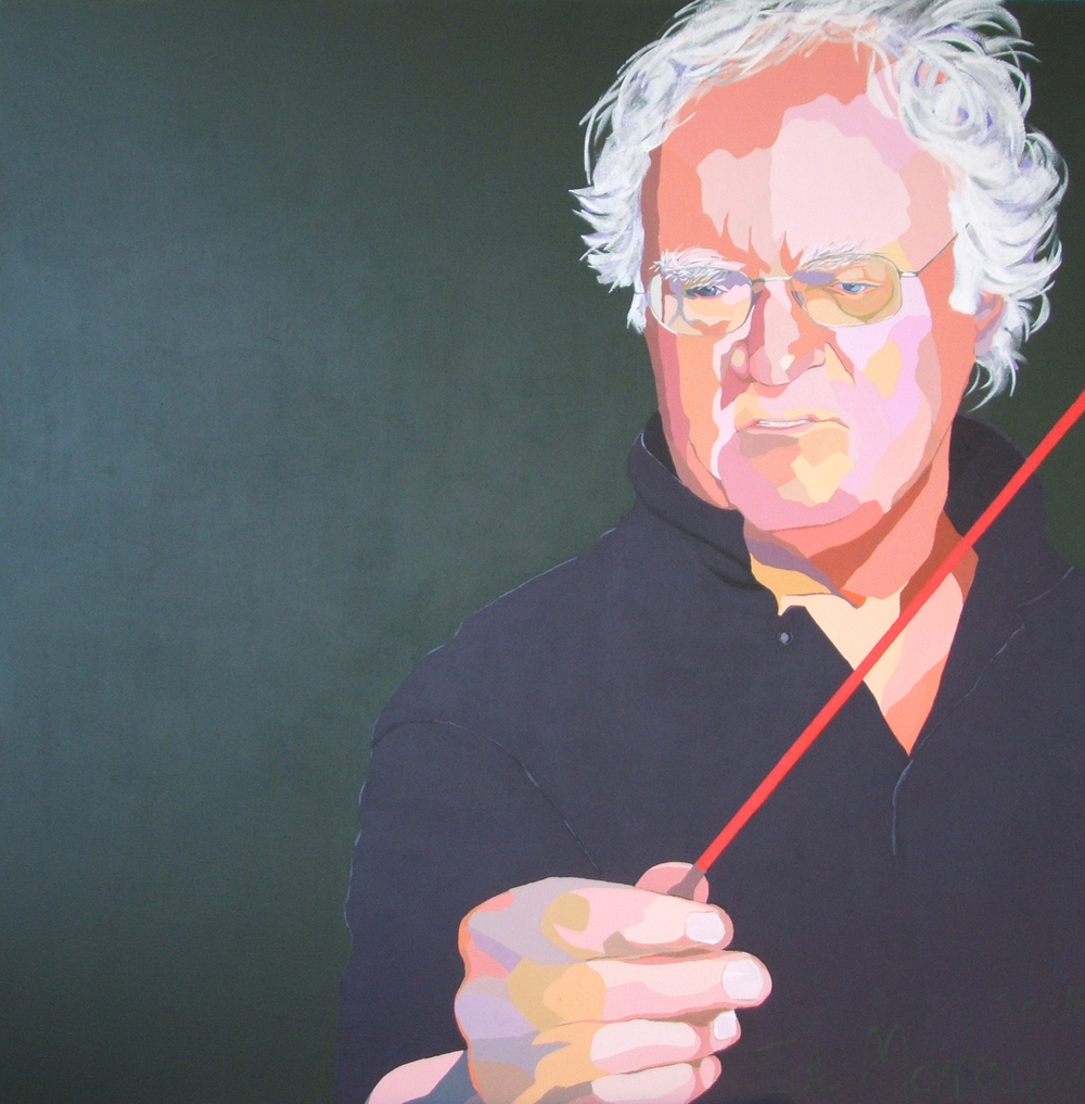 Richard Gill, OA, Musician  . Acrylic polymer on linen. 125 x 125cm.  ©  2009 Ida Montague. Private Collection: Canberra.  Archibald Portrait Competition Entry, 2009